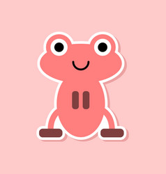 Paper sticker on stylish background frog cartoon vector