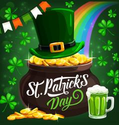 patricks day irish leprechaun hat and gold coins vector image
