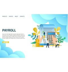 Payroll website landing page design vector