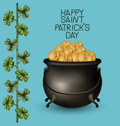 Poster happy saint patricks day with treasure of vector