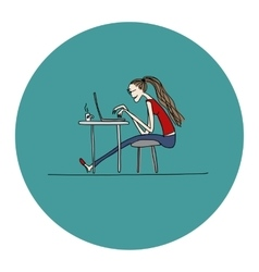 Programmer woman at work sketch for your design vector