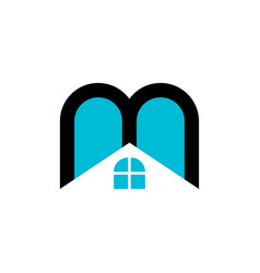 real estate letter m and window house logo vector image