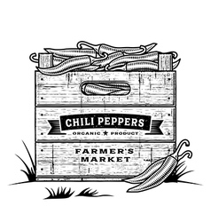 Retro crate of chili peppers black and white vector image
