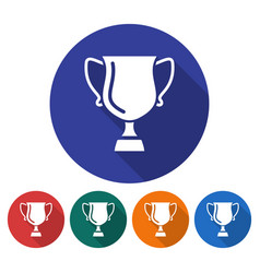 round icon winner trophy cup flat style vector image