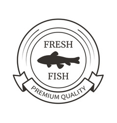 round monochrome logo with fish shadow inside vector image