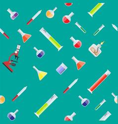 Seamless laboratory equipment pattern vector