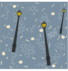 seamless pattern with street lanterns on colorful vector image