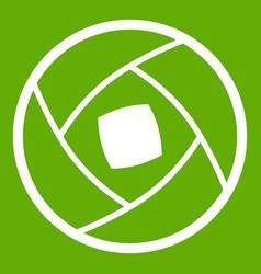Semi-closed lens icon green vector
