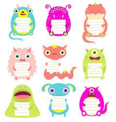 Set cute cartoon monsters with memo pads vector