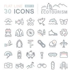 Set Flat Line Icons Ecotourism vector image