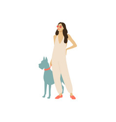 set of girls with dogs vector image