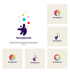 Set of reaching stars logo design concept child vector