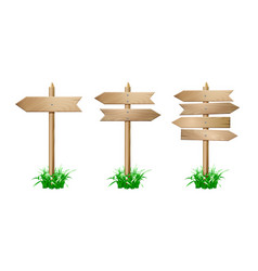 set of wooden signpost vector image