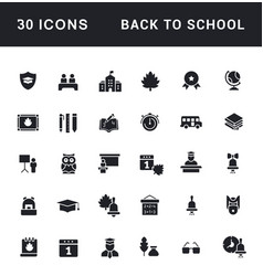 Set simple icons back to school vector