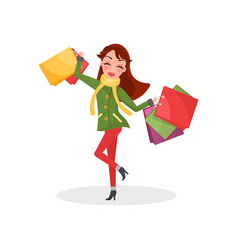 smiling woman warm coat trousers presents gifts vector image