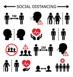social distancing during pandemic icons vector image