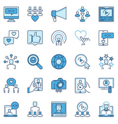 social media influencer colored icons vector image