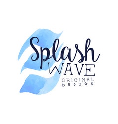 splash wave logo aqua blue label original design vector image