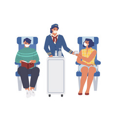 stewardess and passengers wearing face masks vector image