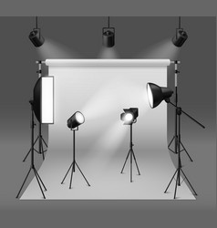 studio spotlights realistic photo studio with vector image