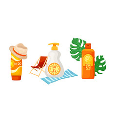 Sunscreen cosmetics and things for a beach holiday vector