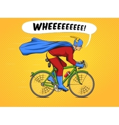 Superhero on a bicycle comic book vector