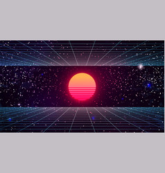 Synthwave sunset background 80s sun backdrop vector