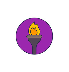 torch icon with outline vector image