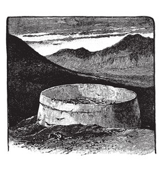 Tower of silence perimeter vintage engraving vector