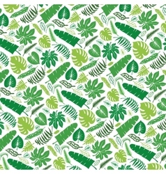 Tropical leavesbranches pattern backdropGreen vector image