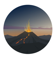 volcano at night round icon vector image