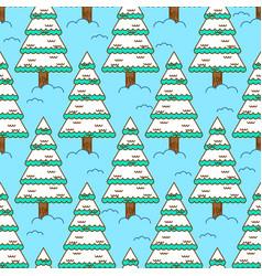 Winter spruce seamless pattern fir forest in vector