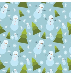 winter tree ans snowman seamless pattern vector image