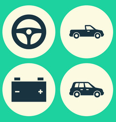 Car icons set collection of accumulator carriage vector