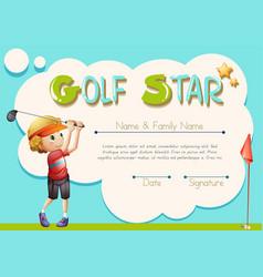 Certificate template for golf star vector