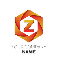 Letter z logo symbol on colorful hexagonal vector