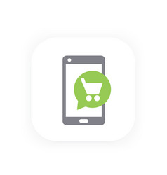 mobile shopping icon vector image vector image