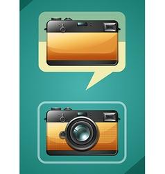 Retro camera design on green vector image vector image