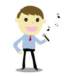 business man singing happy vector image