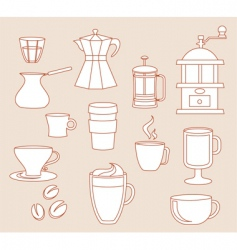 coffee linear design elements vector image