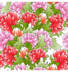seamless of a color peonies and green leafs vector image