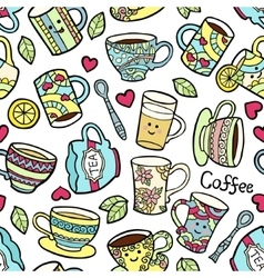 Seamless pattern with doodle tea accessories on vector image vector image