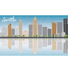 Seattle City Skyline with Grey Buildings vector image