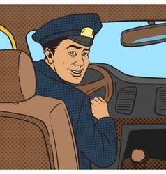 Taxi driver in taxi car pop art style vector image vector image