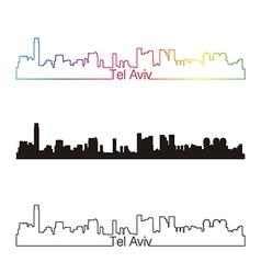 Tel aviv skyline linear style with rainbow vector