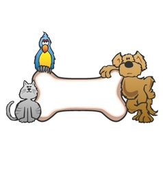 Dog Bird and Cat with Bone Pet Sign Logo vector image vector image