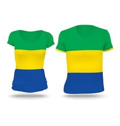 Flag shirt design of Gabon vector image vector image