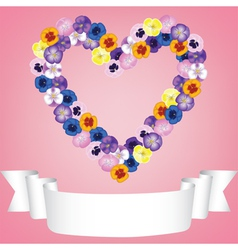 flower heart and ribbon vector image