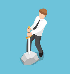 isometric businessman trying to pull sword from vector image vector image