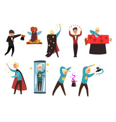 magician showing tricks and focuses set of vector image vector image